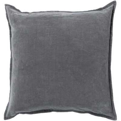 "Askern Smooth Velvet Cotton Throw Pillow - Dark Gray - 18"" x 18"" - Polyester Insert - Wayfair"