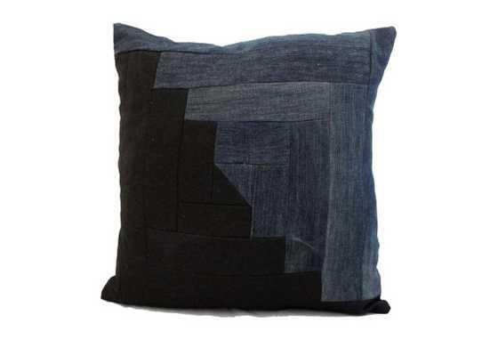 "Modern Quilt Pillow in Denim - 20"" x 20"" - Etsy"