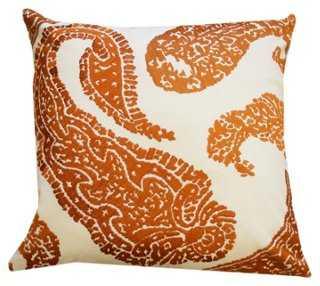 Paisley 18x18 Cotton Pillow, Orange-polyester insert - One Kings Lane