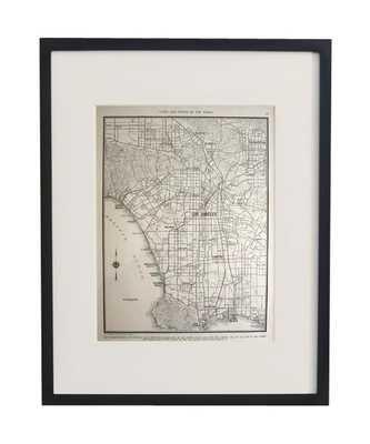 """Vintage Framed City Map, Los Angeles - 17-3/8"""" x 22-9/16"""" - framed - High Street Market"""