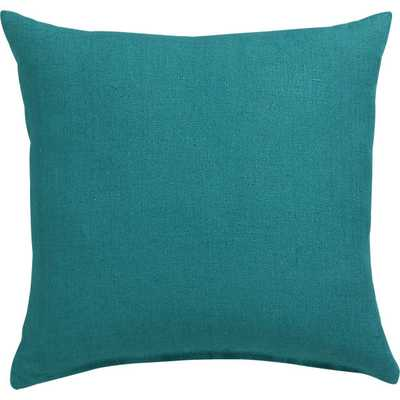 "linon teal 20"" pillow with down-alternative insert - CB2"