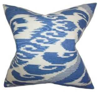 Ikat 18x18 Cotton Pillow, Blue - Feather down insert - One Kings Lane
