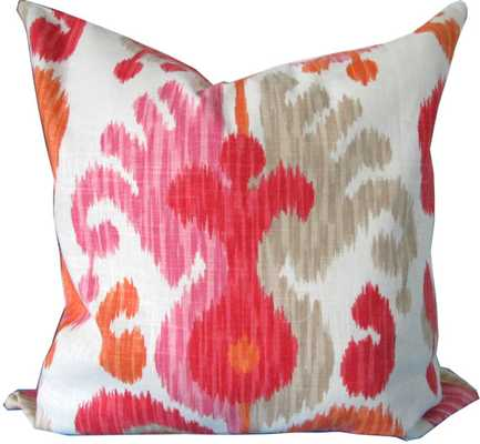 """Ikat Decorative Pillow Cover-18"""" x 18""""-Pink And Orange-Insert Sold Separately - Etsy"""