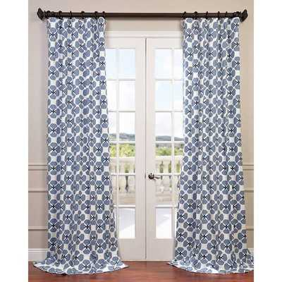 EFF Clover Blue Printed Cotton Twill Curtain - Overstock