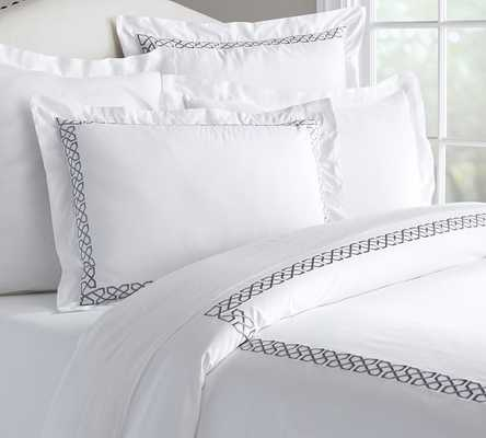 AVERY EMBROIDERED SATEEN DUVET COVER - Pottery Barn