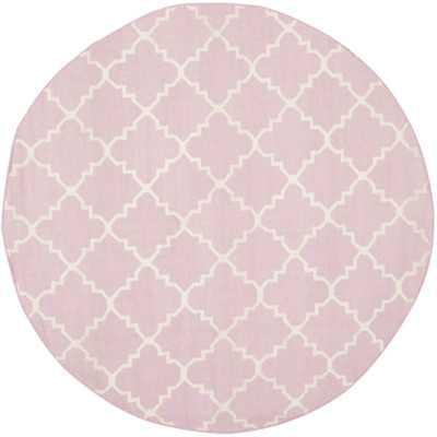 Dhurries Pink & Ivory Area Rug Square 6' - Wayfair