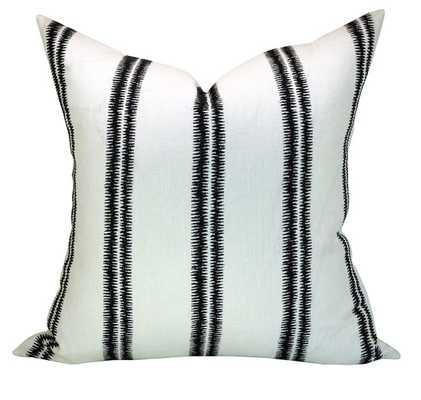 "Schumacher Paloma Embroidery pillow cover, 20"", Ebony, 22"" down insert - Etsy"