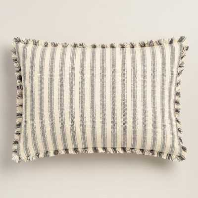 "Blue Stripe Frayed Edge Lumbar Pillow - 14""W x 20""L - Polyester filling - World Market/Cost Plus"