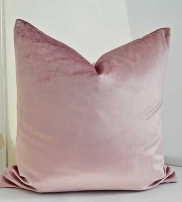 "Pink Velvet Pillow Cover - 22"" x 22"" - Insert Sold Separately - Etsy"