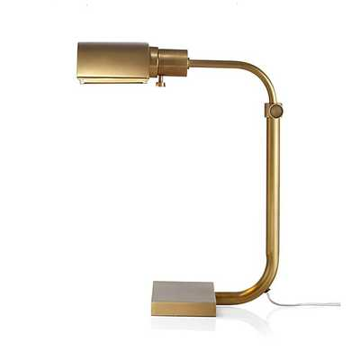 Theorem Aged Brass Desk Lamp - Crate and Barrel
