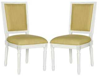 Chartreuse Lucy Side Chairs, Pair - One Kings Lane