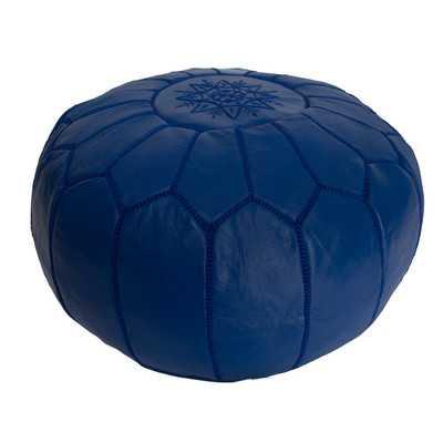 Leather Embroidered Ottoman-Blue - Wayfair