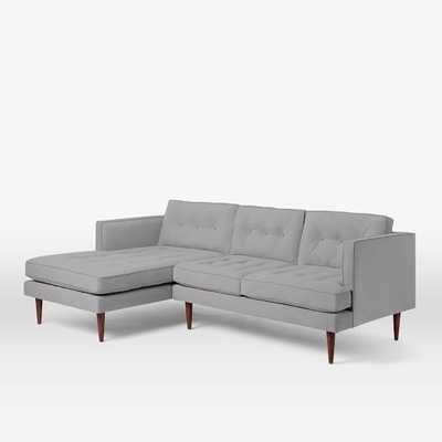 Peggy Left Chaise 2-Piece Sectional - Heathered crosshatch, Feather Gray - West Elm