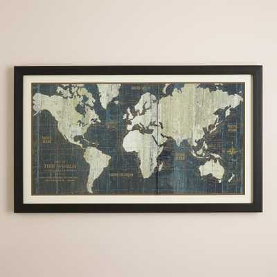 Blue Old World Map - 45x27 - Framed - World Market/Cost Plus