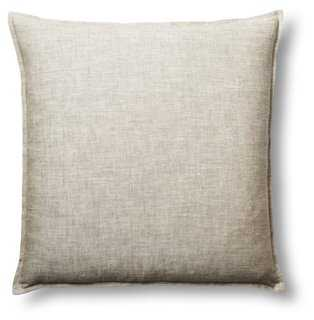 Tailored 22x22 Linen Pillow, Oatmeal - Down/Feather Insert - One Kings Lane