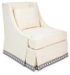 Cheryl Skirted Chair, Cream/Blue Trellis - One Kings Lane