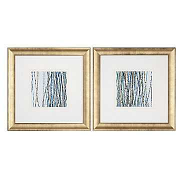 Blue Sensations - Set of 2 - 28x28 - Framed - Z Gallerie