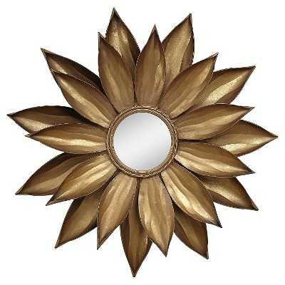 Framed Dahlia Flower Mirror Gold - Target