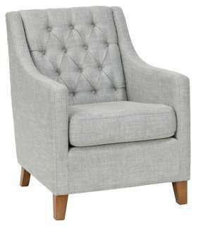 Davy Tufted Club Chair, Gray - One Kings Lane