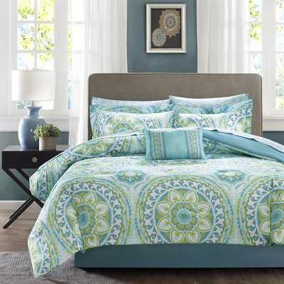 Madison Park Essentials Orissa Aqua Complete Queen Bed Set - Overstock