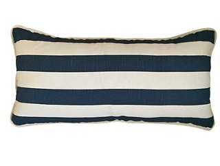 Leon 14x28 Cotton Pillow, Navy - One Kings Lane