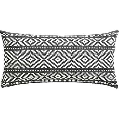 """Woven isle 23""""x11"""" - White on grey- pillow with insert. - CB2"""