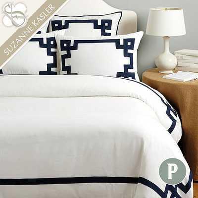 Suzanne Kasler Greek Key Sham - Indigo, Euro - Ballard Designs