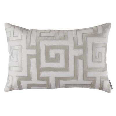 "Onasis Linen Lumbar Pillow - 14"" H x 22"" W - White/Ice Silver (Down/Feather Insert) - Wayfair"