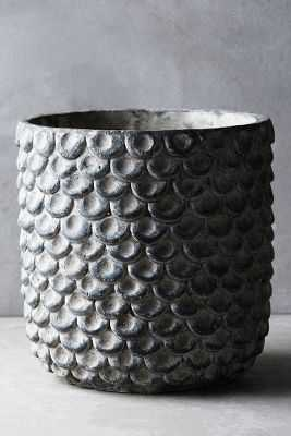 Scalloped Cement Pot-Large-Grey - Anthropologie