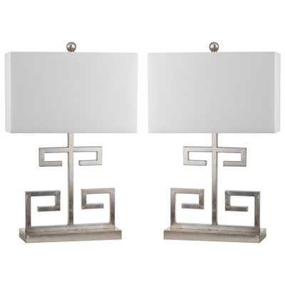 Safavieh Indoor 1-light Antique Silver Greek Key Table Lamp (Set of 2) - Overstock