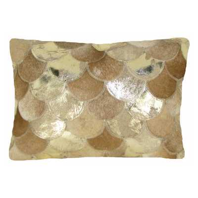 Design Accents Sunray Leather Pillow - 20L x 20W  Beige/Gold - Hayneedle