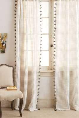 "Pom Tassel Curtain-Grey-96"" - Anthropologie"
