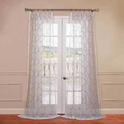 Half Price Drapes Florentina White 50 x 96-Inch Embroidered Sheer Curtain - Bellacor