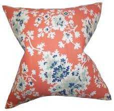 """Danique Floral Pillow Coral 18""""x18"""" - Houzz"""