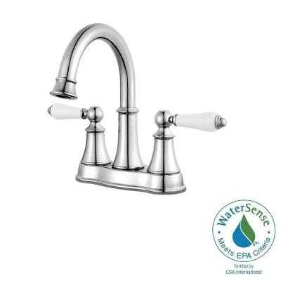 Courant 4 in. Centerset 2-Handle High-Arc Bathroom Faucet in Polished Chrome with White Handles - Home Depot