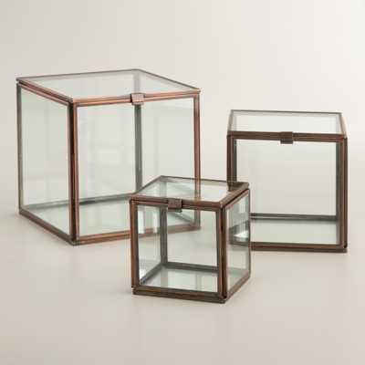 """Square Glass Curio Box - 3""""W x 3""""L x 3""""H-Small - World Market/Cost Plus"""