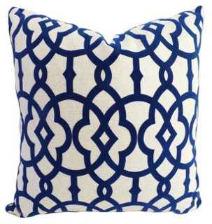 Faye 20x20 Cotton-Blend Pillow, Navy - Insert, feather/down - One Kings Lane