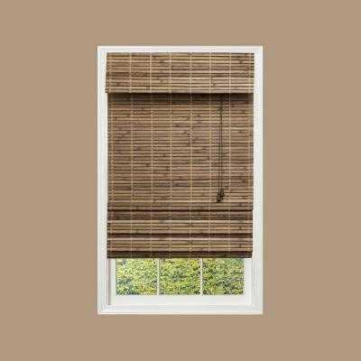 Driftwood Flat-Weave Bamboo Roman Shade - 72 in. W x 48 in. L - Home Depot