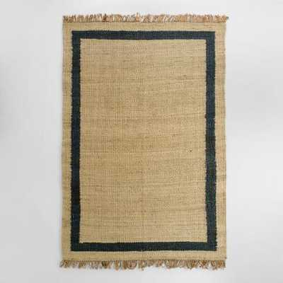 Navy Bordered Woven Jute Area Rug -  6' x 9' - World Market/Cost Plus
