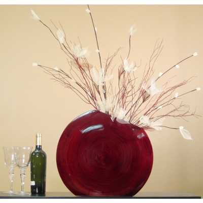 Fire & Ice in Red Bamboo 18-inch Circle Vase - Overstock