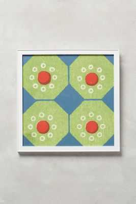 Octagon Chinoiserie Wall Art - 12.25'' square - framed (kelly) - Anthropologie