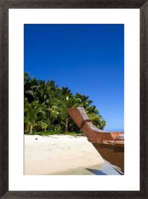 """Palm fringed beaches, Cook Islands, South Pacific/22"""" x 28"""" Framed - Photos.com by Getty Images"""