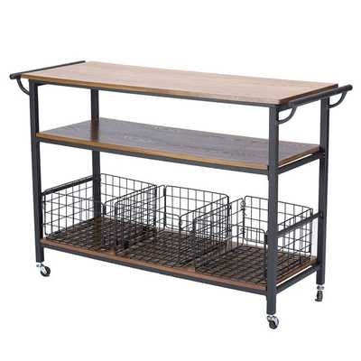 Baxton Studio Lancashire Rustic Industrial Vintage Look Wood and Metal Kitchen Cart - Overstock