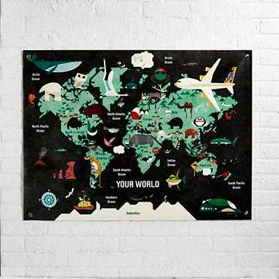 """The World Banner-39""""Wx 29""""H- - Land of Nod"""