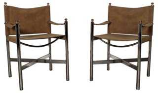 Mid-Century Modern Suede Chairs, S/2 - One Kings Lane