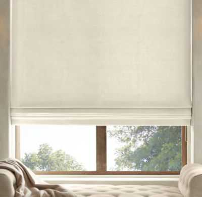 BRUSHED BELGIAN LINEN COTTON FLAT ROMAN SHADE - RH