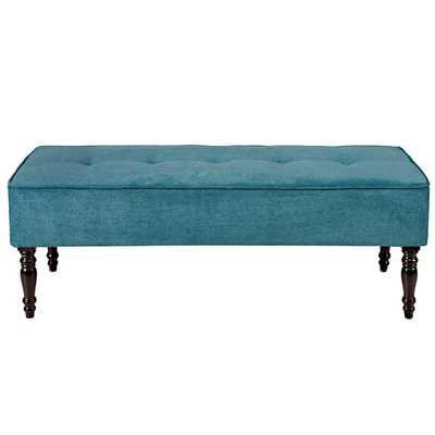 angelo:HOME Brighton Hill Parisian Teal Blue Velvet Large Bench - Overstock