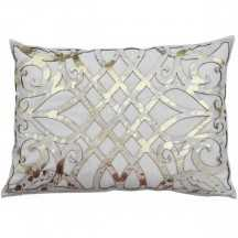 Charlotte Gold Laser Cut Hair on Hide Kidney Pillow - High Fashion Home
