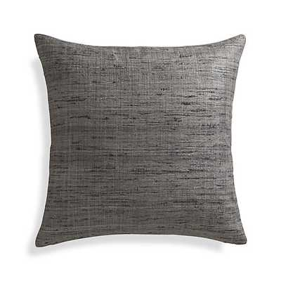"Trevino Nickel Grey 20""l Pillow with Feather-Down Insert - Crate and Barrel"