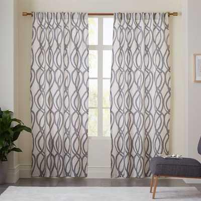 "Cotton Canvas Scribble Lattice Curtain - Feather Gray - 96"" - West Elm"